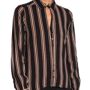 Line & Dot Harlow Striped Front Button Top Size S